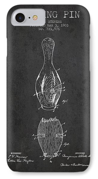 1903 Bowling Pin Patent - Charcoal IPhone Case