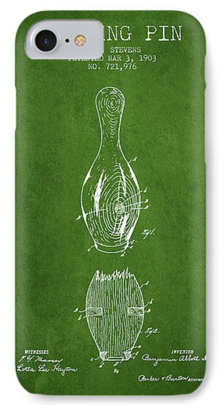 1903 Bowling Pin Patent - Green IPhone Case