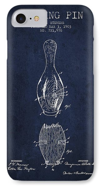 1903 Bowling Pin Patent - Navy Blue IPhone Case