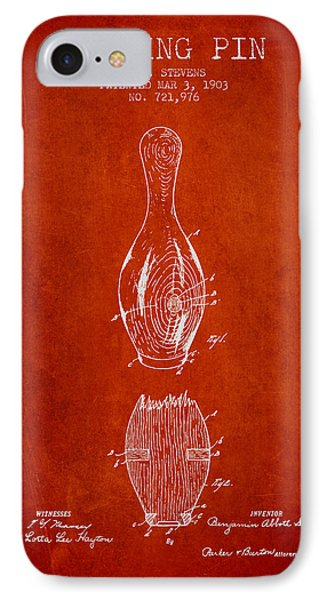 1903 Bowling Pin Patent - Red IPhone Case