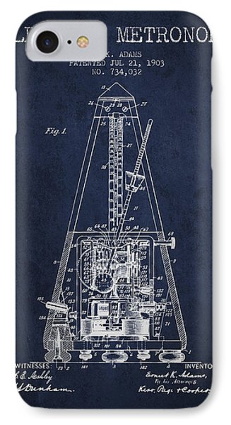 1903 Electric Metronome Patent - Navy Blue IPhone Case by Aged Pixel