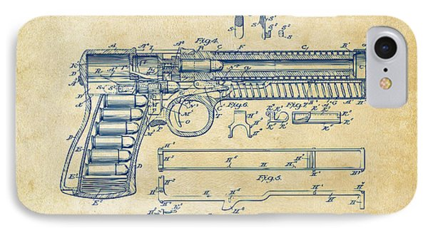 1903 Mcclean Pistol Patent Artwork - Vintage IPhone Case by Nikki Marie Smith
