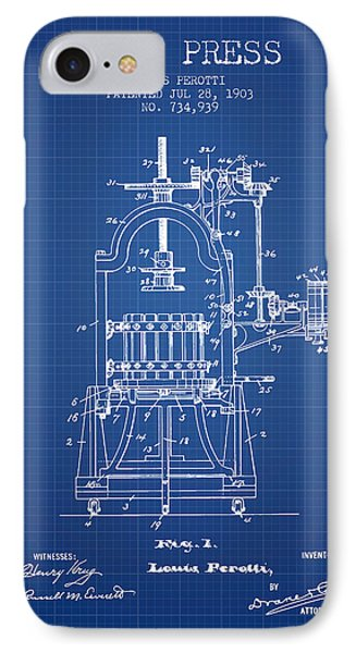 1903 Wine Press Patent - Blueprint 02 IPhone Case by Aged Pixel