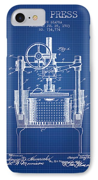 1903 Wine Press Patent - Blueprint IPhone Case by Aged Pixel