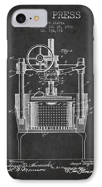 1903 Wine Press Patent - Charcoal IPhone Case by Aged Pixel