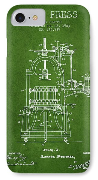 1903 Wine Press Patent - Green 02 IPhone Case by Aged Pixel