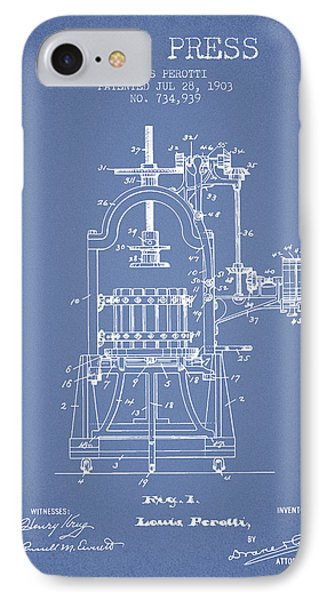 1903 Wine Press Patent - Light Blue 02 IPhone Case by Aged Pixel