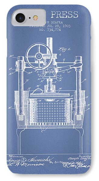 1903 Wine Press Patent - Light Blue IPhone Case by Aged Pixel