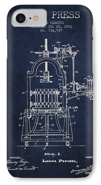 1903 Wine Press Patent - Navy Blue 02 IPhone Case by Aged Pixel