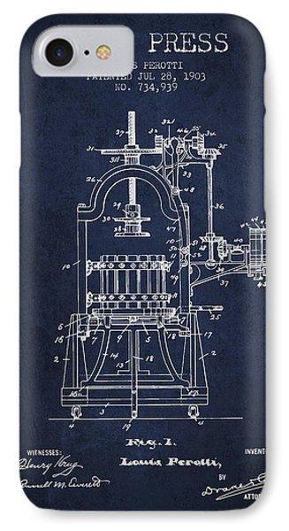 1903 Wine Press Patent - Navy Blue 02 IPhone Case