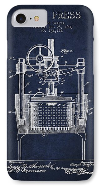 1903 Wine Press Patent - Navy Blue IPhone Case by Aged Pixel