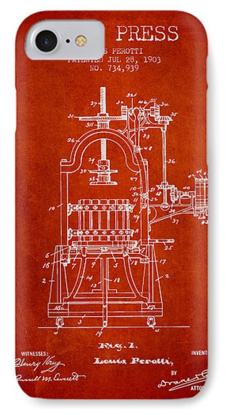 1903 Wine Press Patent - Red 02 IPhone Case by Aged Pixel