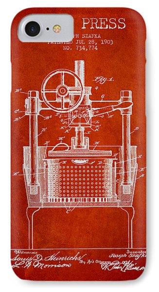 1903 Wine Press Patent - Red IPhone Case by Aged Pixel