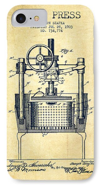 1903 Wine Press Patent - Vintage IPhone Case by Aged Pixel
