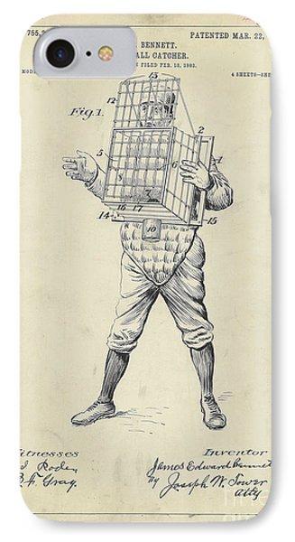 1904 Baseball Catcher Patent IPhone Case by Jon Neidert