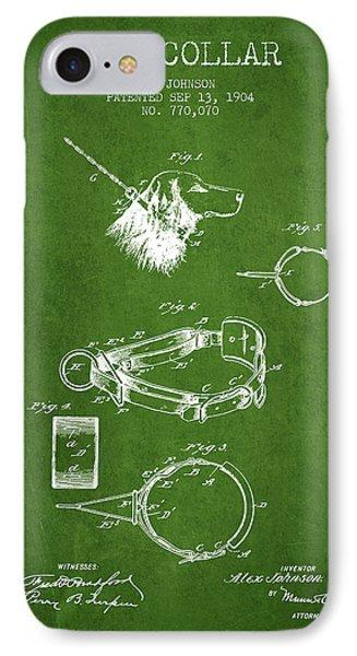 1904 Dog Collar Patent - Green IPhone Case