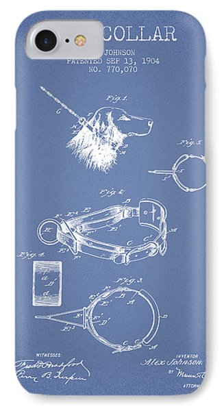 1904 Dog Collar Patent - Light Blue IPhone Case