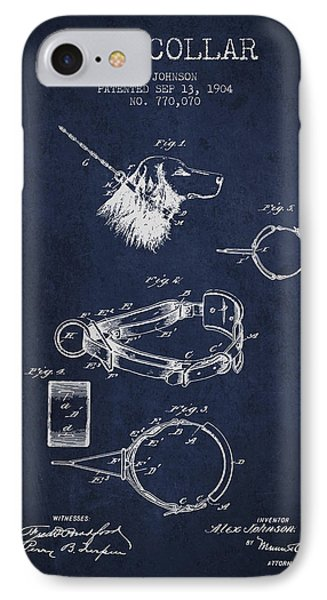 1904 Dog Collar Patent - Navy Blue IPhone Case