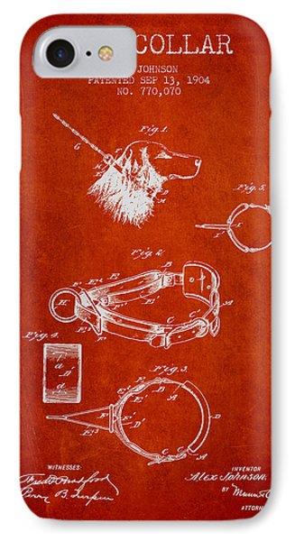 1904 Dog Collar Patent - Red IPhone Case