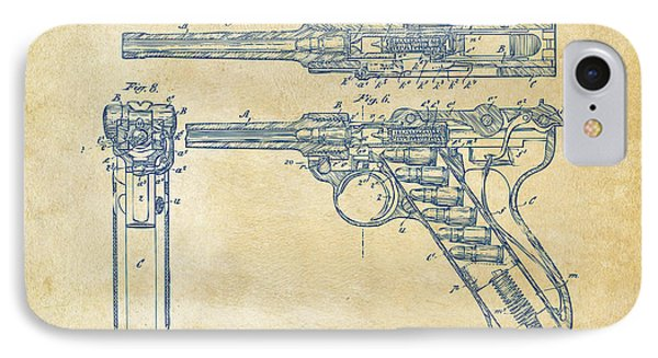 1904 Luger Recoil Loading Small Arms Patent - Vintage Phone Case by Nikki Marie Smith