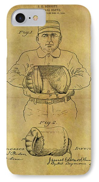 1905 Baseball Glove Patent IPhone Case by Dan Sproul