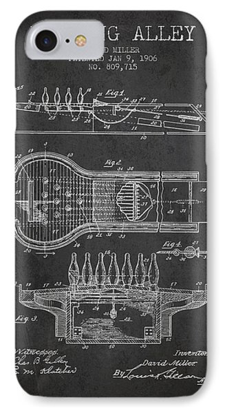 1906 Bowling Alley Patent - Charcoal IPhone Case