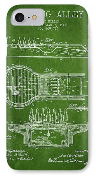 1906 Bowling Alley Patent - Green IPhone Case