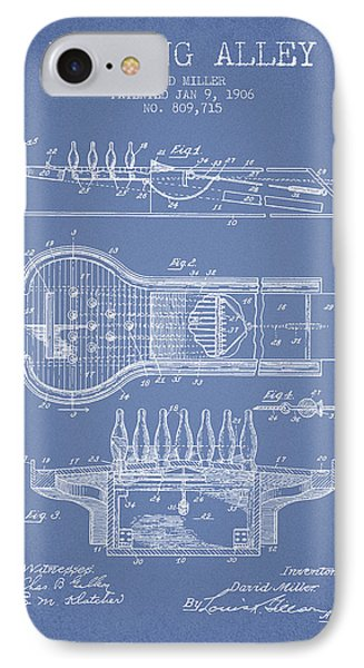 1906 Bowling Alley Patent - Light Blue IPhone Case