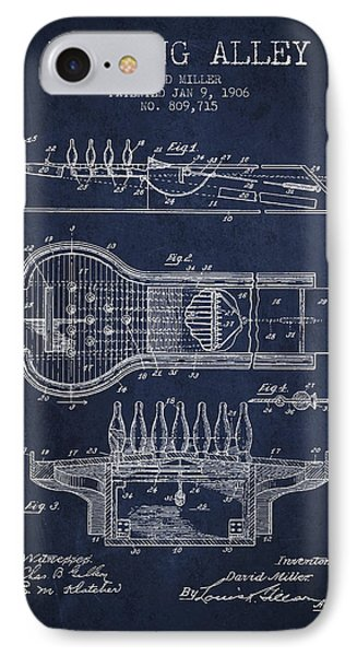 1906 Bowling Alley Patent - Navy Blue IPhone Case