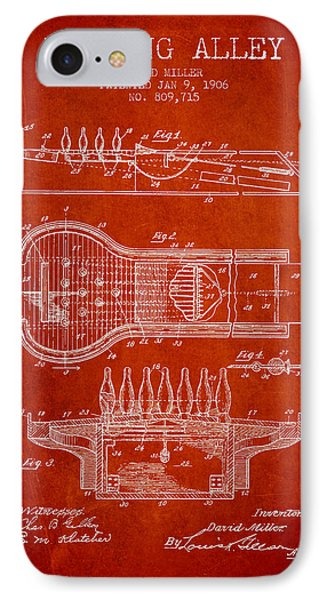 1906 Bowling Alley Patent - Red IPhone Case