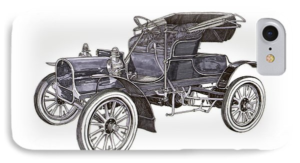 IPhone Case featuring the drawing 1906 Knox Model F 3 Surry by Jack Pumphrey