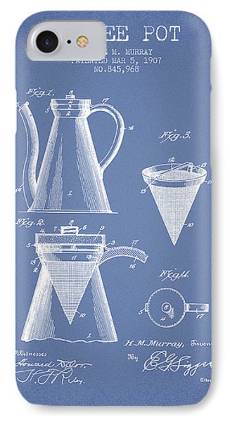 1907 Coffee Pot Patent - Light Blue IPhone Case by Aged Pixel