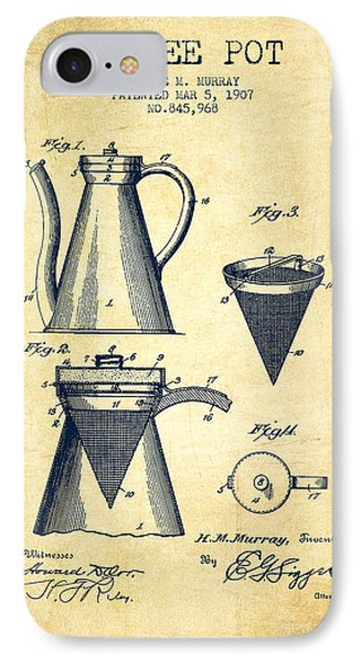 1907 Coffee Pot Patent - Vintage IPhone Case by Aged Pixel