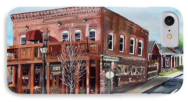 IPhone Case featuring the painting 1907 Restaurant And Bar - Ellijay, Ga - Historical Building by Jan Dappen