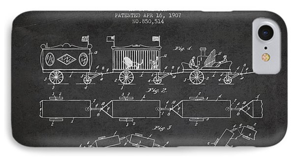 1907 Toy Train Patent - Charcoal IPhone Case