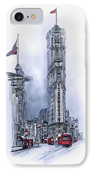 IPhone Case featuring the painting 1908 Times Square,ny by Andrzej Szczerski