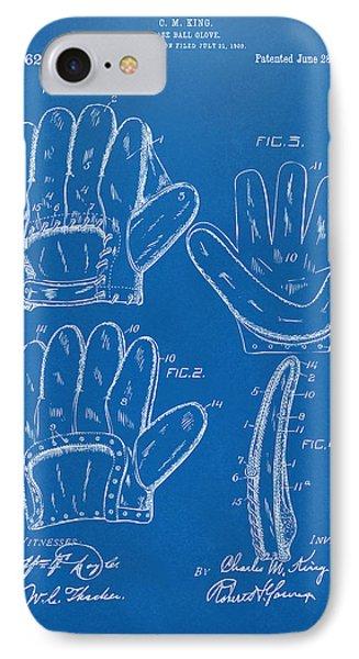 1910 Baseball Glove Patent Artwork Blueprint IPhone Case by Nikki Marie Smith