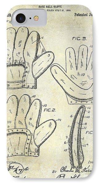 1910 Baseball Glove Patent  IPhone Case