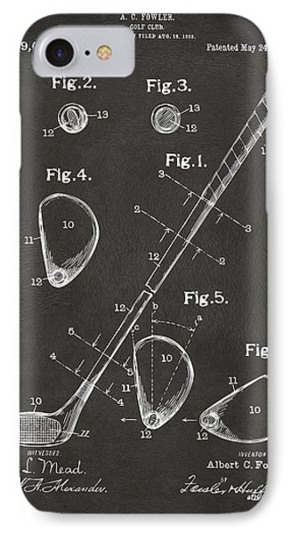 Golf iPhone 7 Case - 1910 Golf Club Patent Artwork - Gray by Nikki Marie Smith