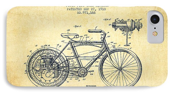 1910 Motorcycle Patent - Vintage IPhone Case by Aged Pixel