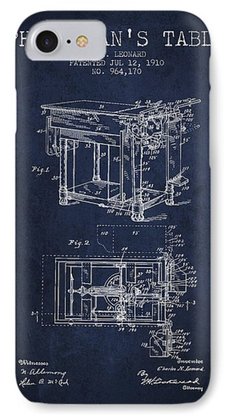 1910 Physicians Table Patent - Navy Blue IPhone Case by Aged Pixel