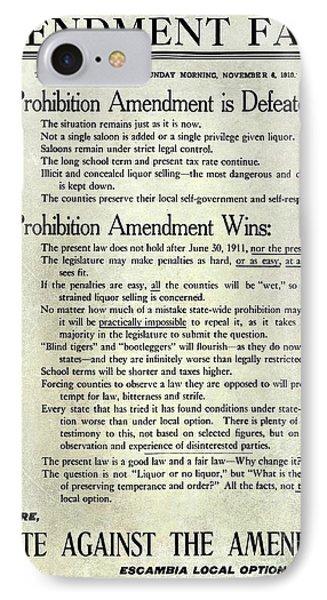 1910 Prohibition Amendment Facts IPhone Case