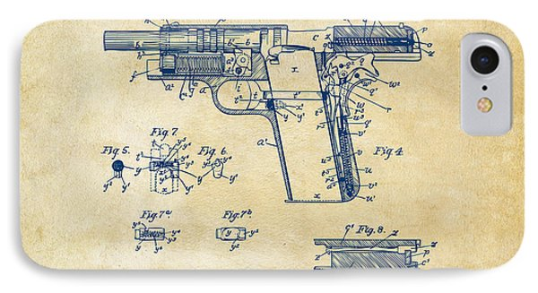 1911 Colt 45 Browning Firearm Patent 2 Artwork Vintage IPhone Case