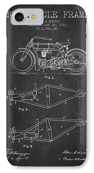 1911 Motorcycle Frame Patent - Charcoal IPhone Case by Aged Pixel