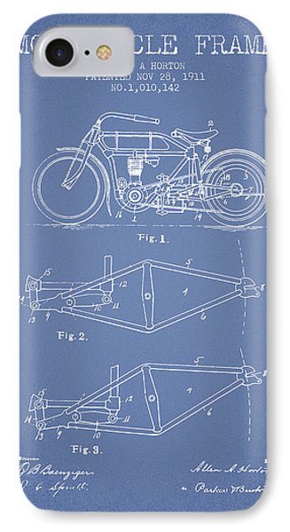 1911 Motorcycle Frame Patent - Light Blue IPhone Case by Aged Pixel