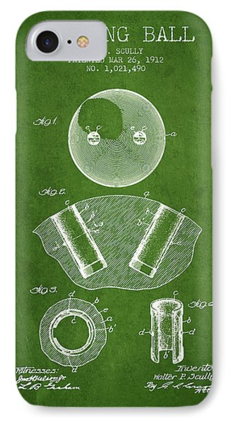 1912 Bowling Ball Patent - Green IPhone Case