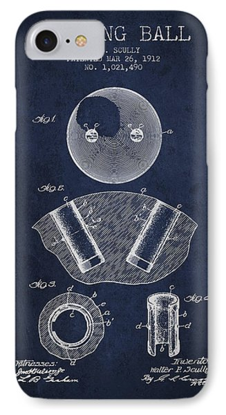 1912 Bowling Ball Patent - Navy Blue IPhone Case