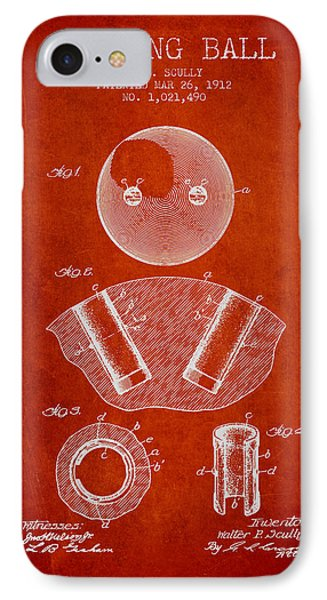 1912 Bowling Ball Patent - Red IPhone Case