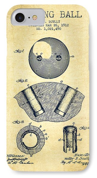 1912 Bowling Ball Patent - Vintage IPhone Case