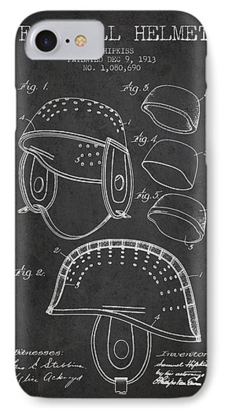 1913 Football Helmet Patent - Charcoal IPhone Case by Aged Pixel
